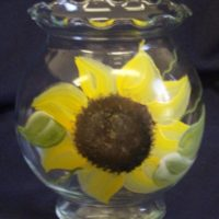 Hand Painted Country Sunflower Ivy Bowl, Candy Dish, Candle Holder