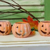 Whitewashed Pumpkin Candle Holders Luminaries