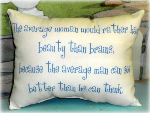 Beauty Over Brains Funny Handmade Pillow