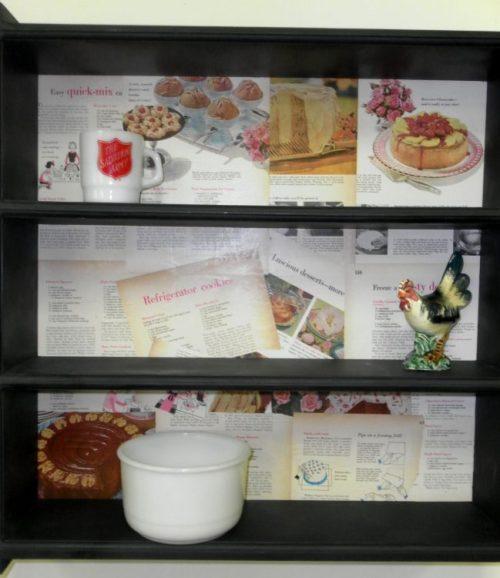 Upcycled Cookbook Page Shelf