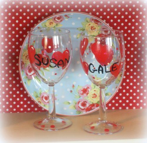 Personalized Valentine Wine Glasses