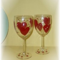 Heart Shaped Valentine Wine Glasses