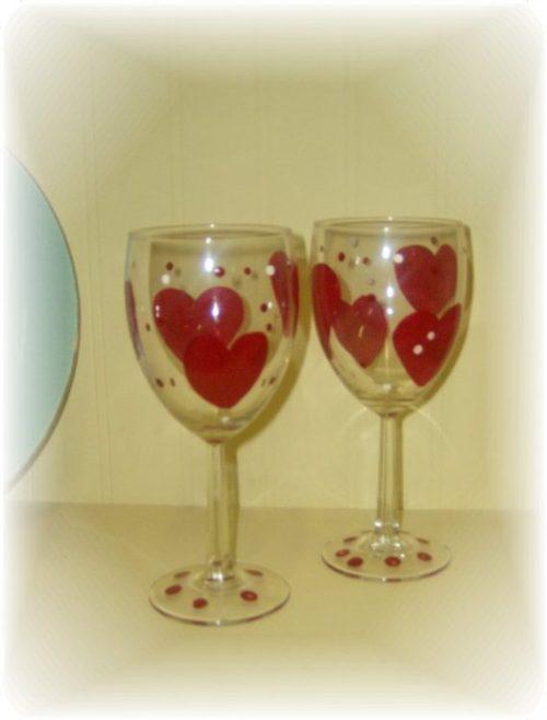 Heart Shaped Valentine Wine Glasses