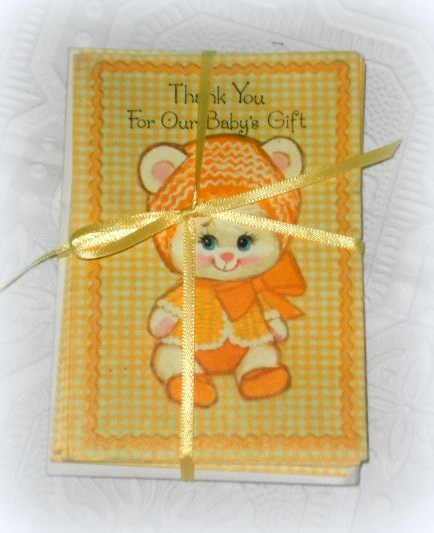 vintage baby thank you cards