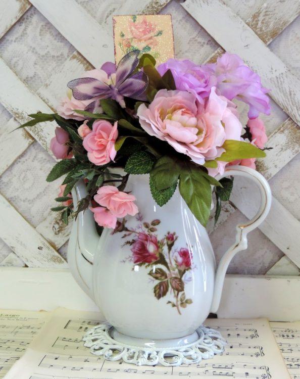 Vintage China Teapot Floral Arrangement