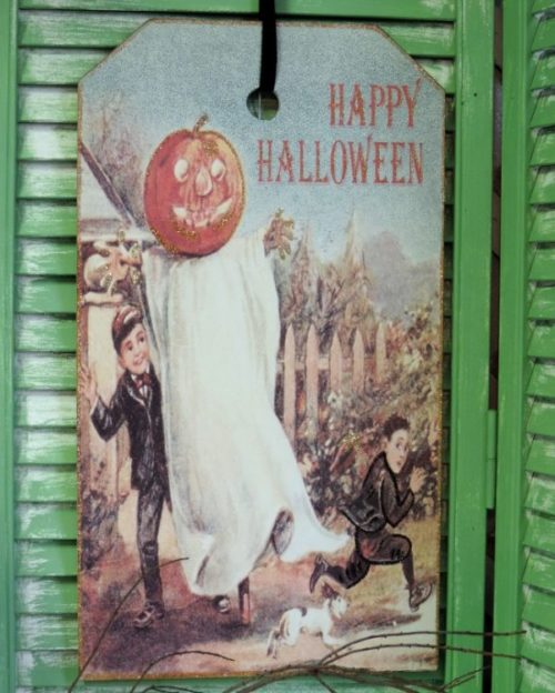 Vintage Victorian Halloween Postcard Plaque