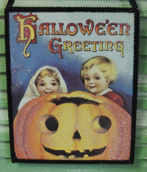 Vintage Inspired Halloween Postcard Plaque Ornament