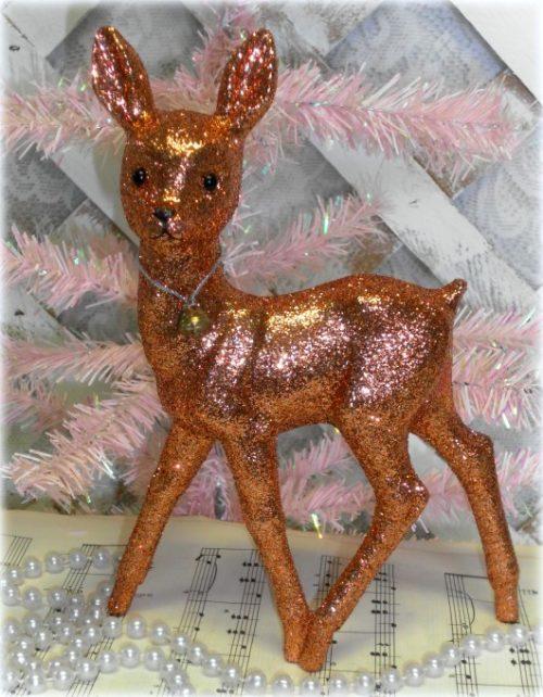 Vintage Inspired Glittered Reindeer