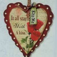 It All Started With A Kiss Wooden Heart Valentine's Day Plaque