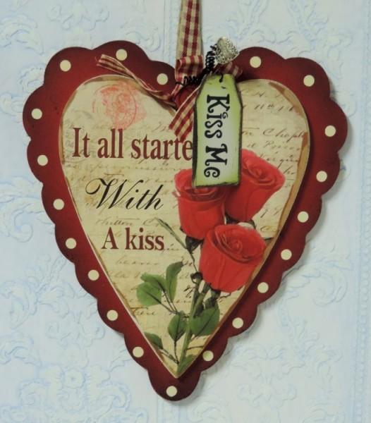 Vintage Inspired Valentine Heart Plaque