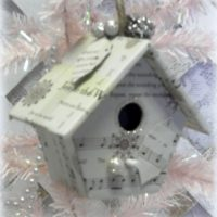 Vintage Sheet Music Bird House Christmas Ornament