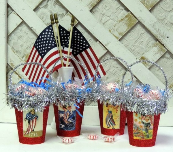 Vintage Victorian Patriotic Treat Candy Cups