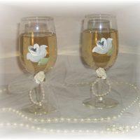 Hand Painted Shabby White Rose Wedding Toasting Glasses