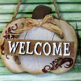 Rustic Shabby White Pumpkin Welcome Sign