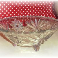 Vintage Anchor Hocking Star of David Footed Bowl