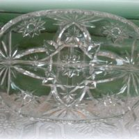 Vintage Anchor Hocking Star of David Prescutt Relish  Pickle Dish