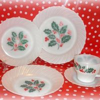 VintageTermocrisa Christmas Holly Milk Glass Dinnerware Dishes