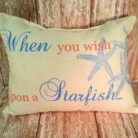 When you wish upon a starfish handmade beach pillow