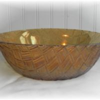 Vintage Amber Basket Weave Glass Bowl