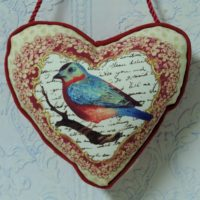 Cottage Chic Bird Heart Pillow