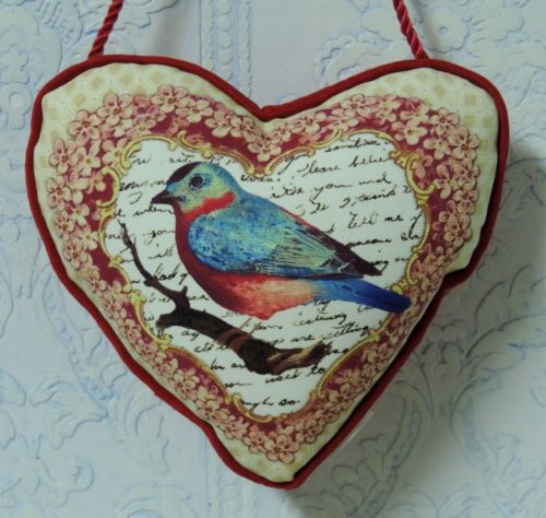 Vintage Inspired Bird Heart Shaped Hanging Accent Pillow