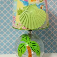 Hand Painted Lime Green Palm Tree Lamp