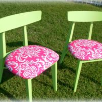 Lime Green and Pink Damask Mid Century Modern Chairs