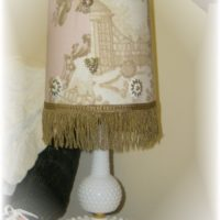 Shabby Chic Pink Toile Vintage Milk Glass Lamp