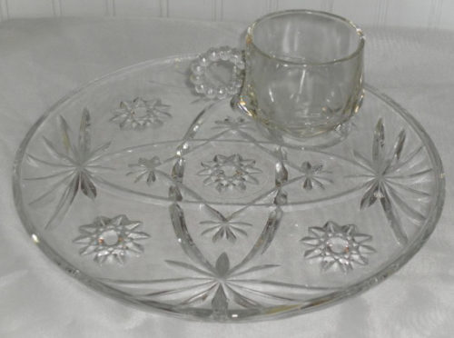 Vintage Pressed Glass Snack Set