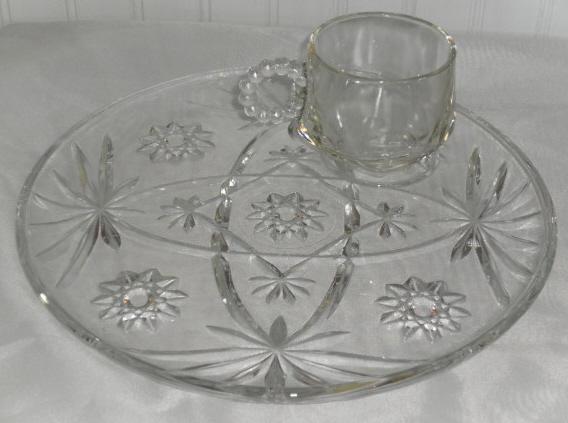 Vintage Pressed Glass Snack Set