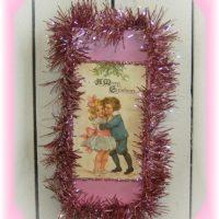 Shabby Pink Vintage Victorian Christmas Postcard Plaque