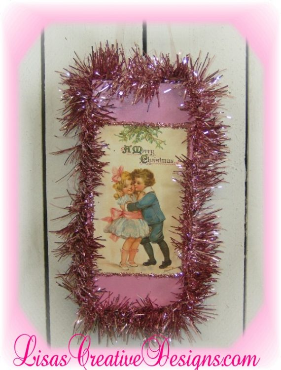Shabby Pink Vintage Victorian Christmas Postcard Plaque