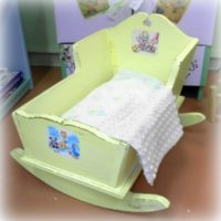 yellow vintage shabby chic doll cradle