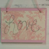 Glittered Pink Toile Love Sign