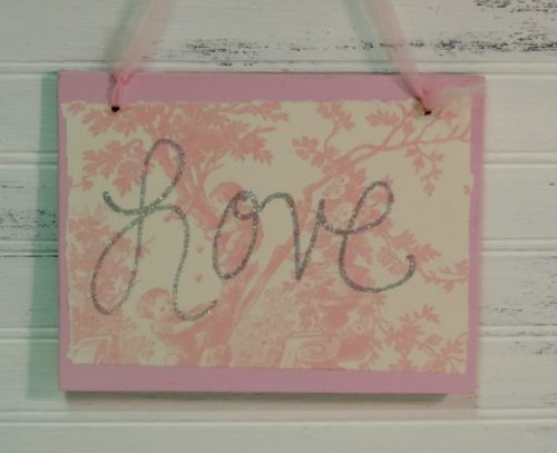 Shabby Pink Toile Glittered LOVE Sign