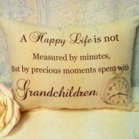 Handmade Grandparent Gift Pillow – A Happy Life With Grandchildren…