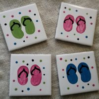 Hand Painted Flip Flop Coaster Set