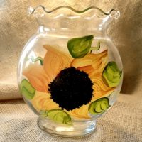 Hand Painted Sunflower Candle Holder Candy Dish Summer Wedding Decor