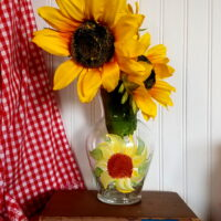 Hand Painted Sunflower Vase Country Decor