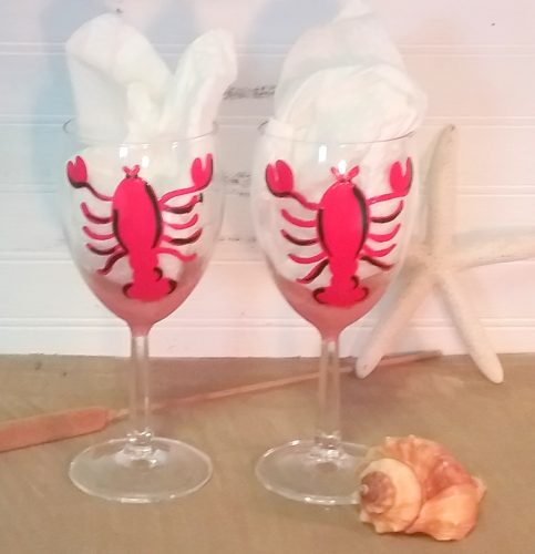 Personalized Hand Painted Lobster Wine Glasses