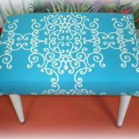 Turquoise Cottage Style Foot Stool