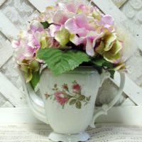 Upcycled Pompadour Rose Chia Tea Pot Floral Arrangement