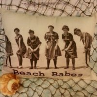 Handmade Vintage Inspired Beach Babes Pillow