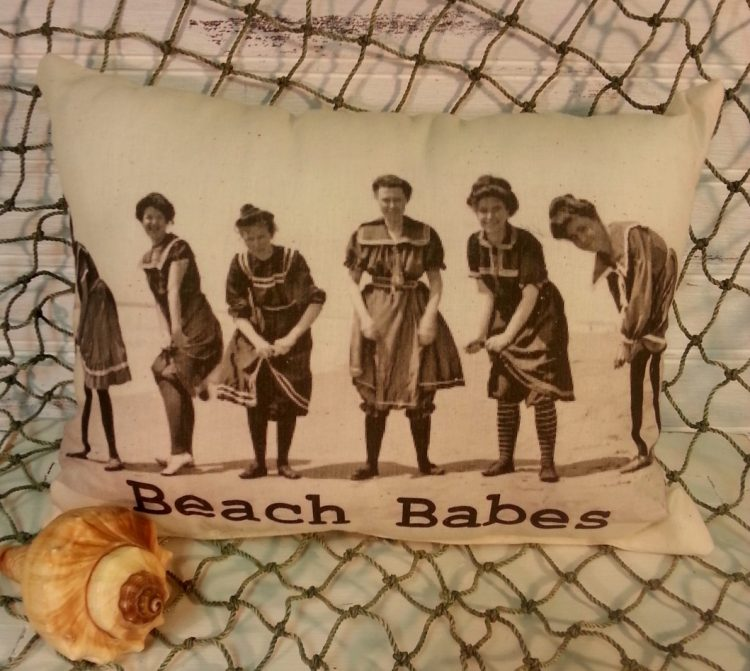 Vintage Inspired Beach Babes Pillow