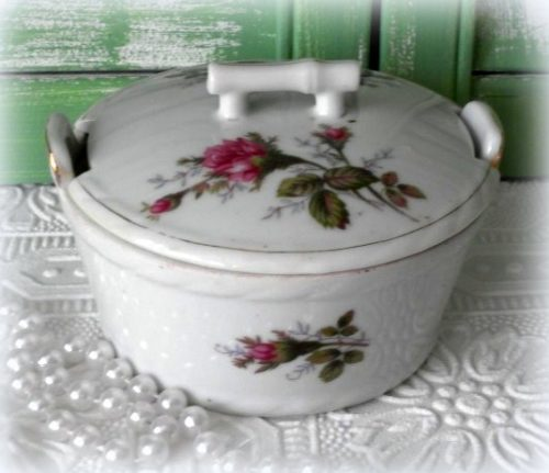Vintage Moss Rose China Sugar Bowl