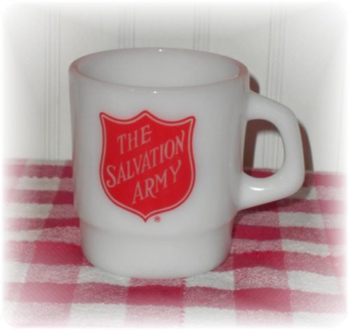 Vintage Salvation Army Glass Coffee Cup