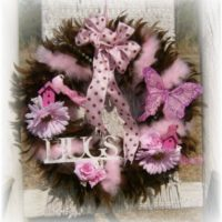 Shabby Cottage Chic Pink and Brown Feather Wreath
