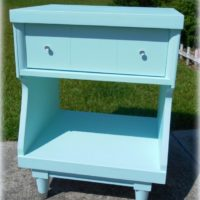 Sky Blue Mid Century Modern Night Stand