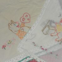 vintage embroidered piggy table runner