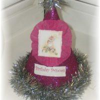 Vintage Inspired Pink Glitter Birthday Girl Hat